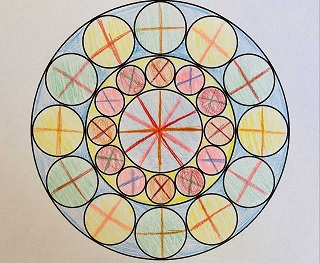 geometric pattern of circles in a circle